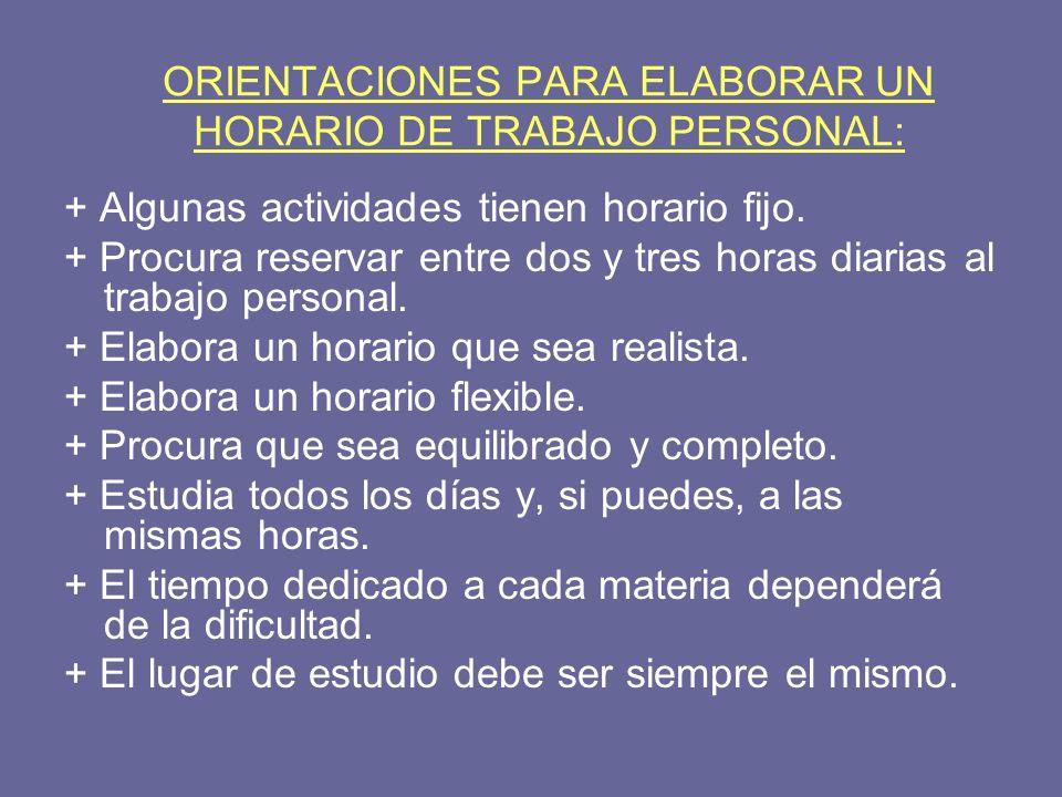 ORIENTACIONES PARA ELABORAR UN HORARIO DE TRABAJO PERSONAL: