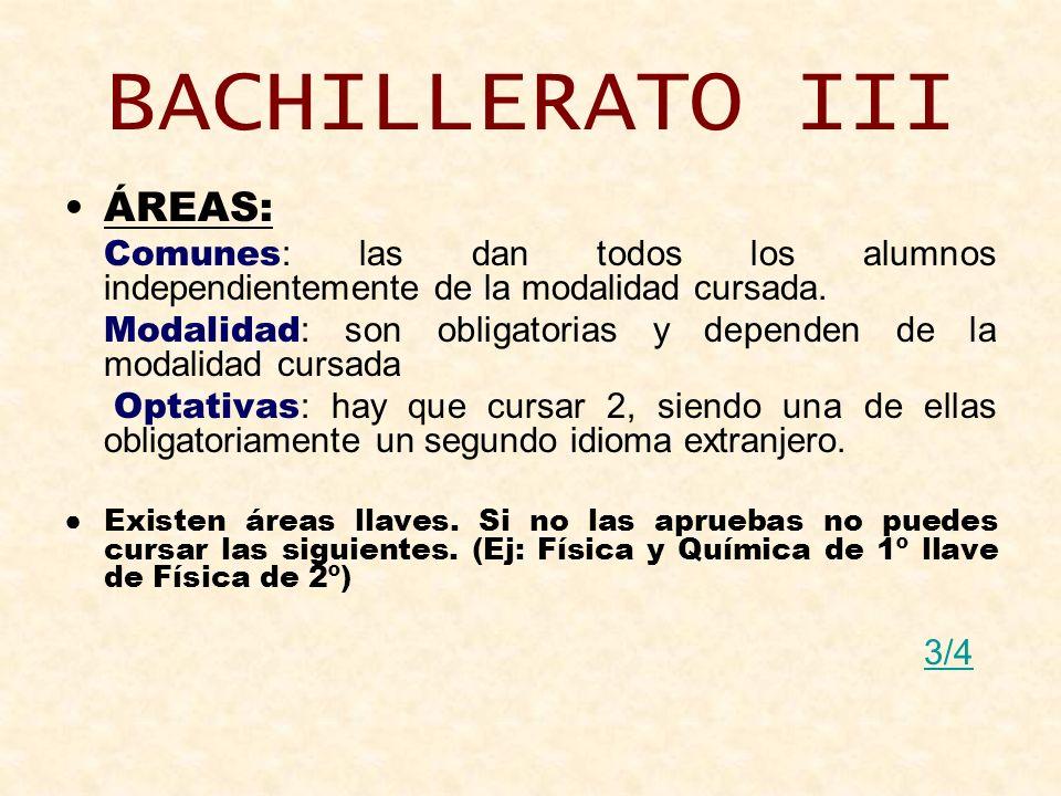 BACHILLERATO III ÁREAS: