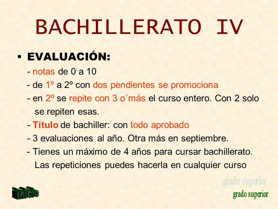 BACHILLERATO IV EVALUACIÓN: - notas de 0 a 10
