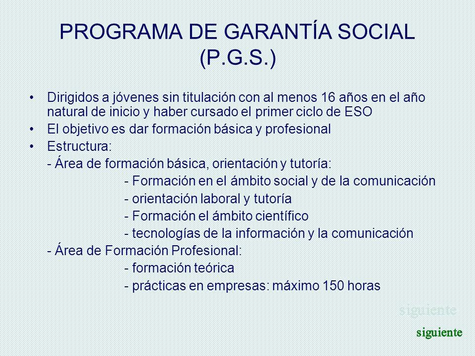 PROGRAMA DE GARANTÍA SOCIAL (P.G.S.)