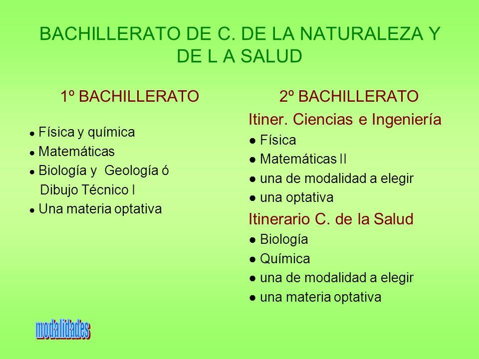 BACHILLERATO DE C. DE LA NATURALEZA Y DE L A SALUD