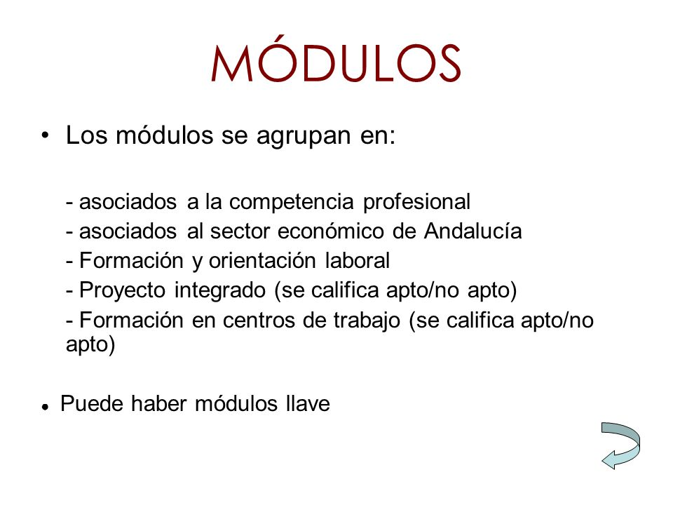 MÓDULOS Los módulos se agrupan en: