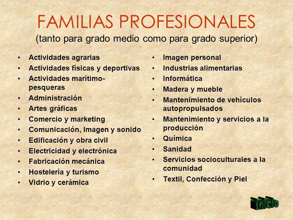 FAMILIAS PROFESIONALES (tanto para grado medio como para grado superior)