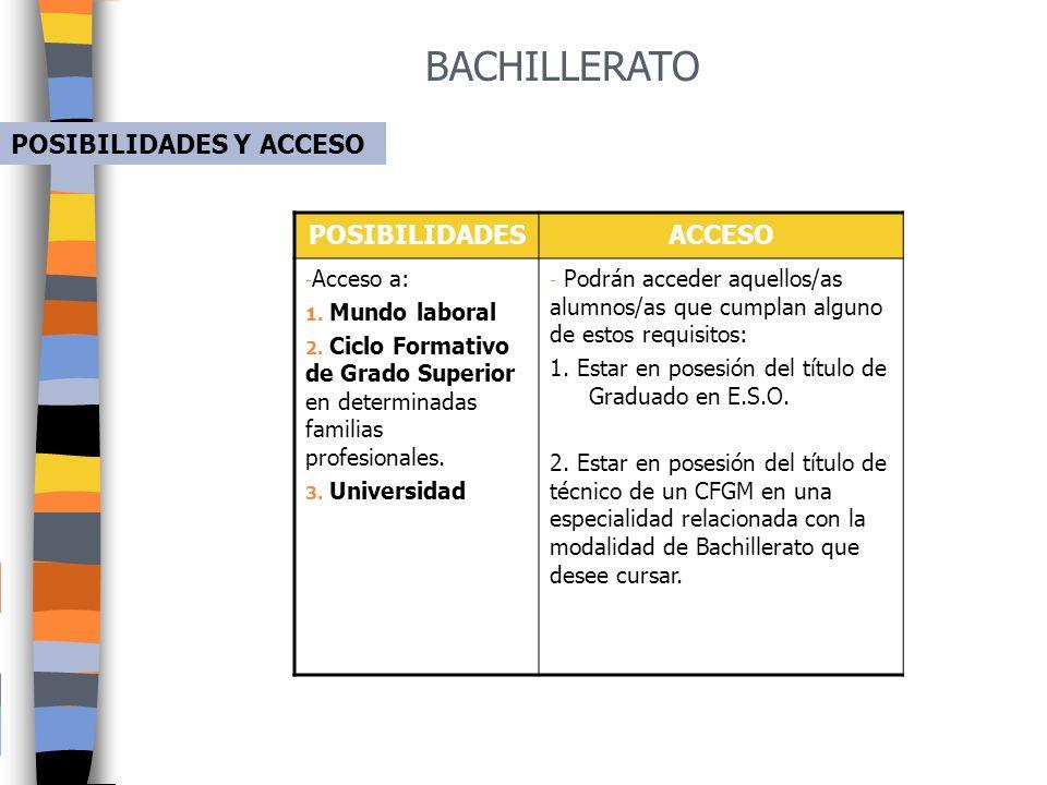 BACHILLERATO POSIBILIDADES Y ACCESO POSIBILIDADES ACCESO Acceso a: