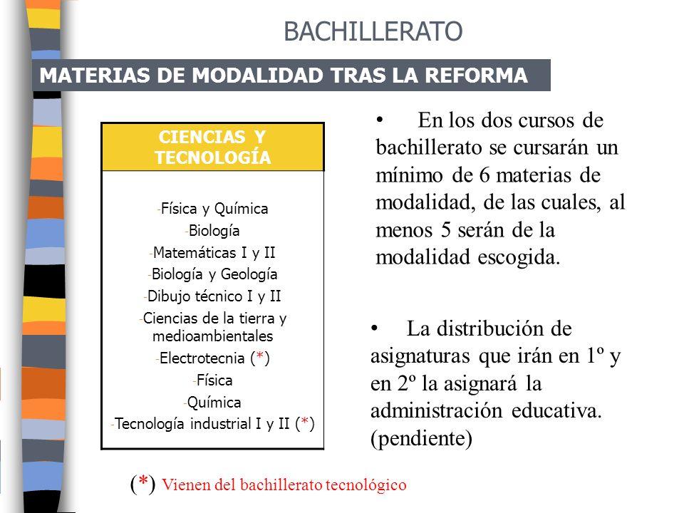 BACHILLERATO MATERIAS DE MODALIDAD TRAS LA REFORMA.