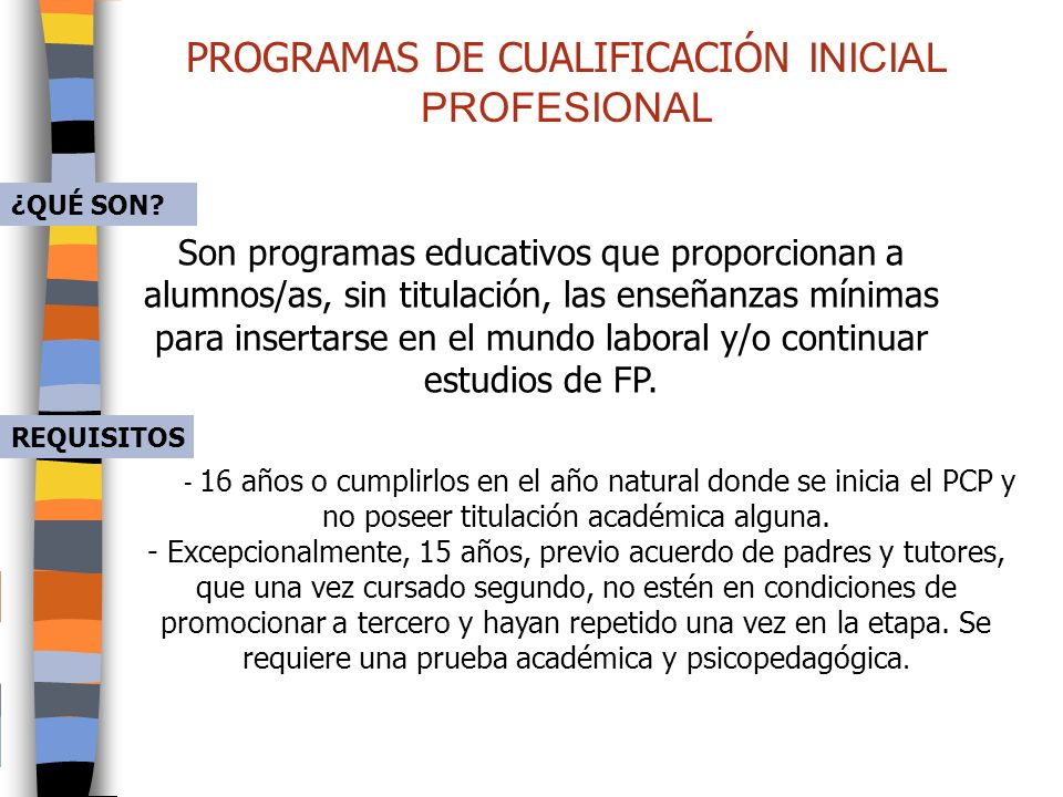PROGRAMAS DE CUALIFICACIÓN INICIAL PROFESIONAL