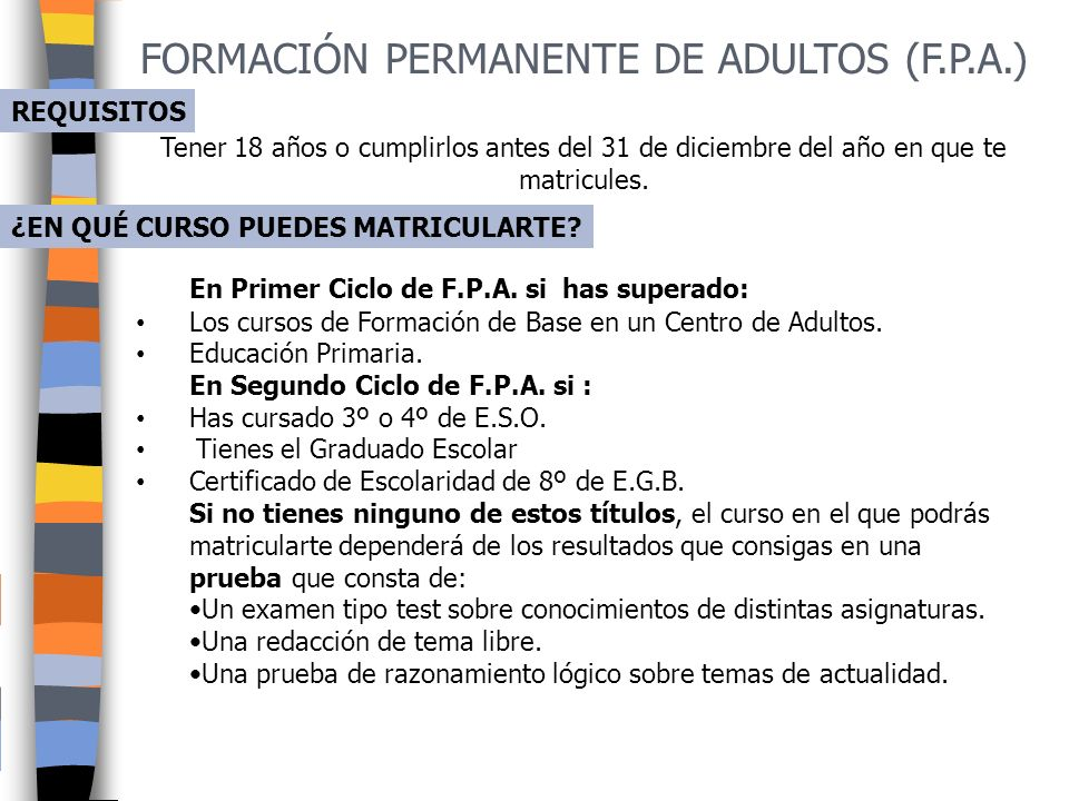 FORMACIÓN PERMANENTE DE ADULTOS (F.P.A.)