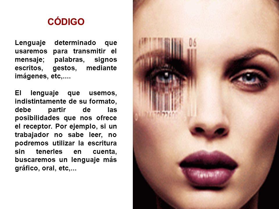 CÓDIGO Lenguaje determinado que usaremos para transmitir el mensaje; palabras, signos escritos, gestos, mediante imágenes, etc,....