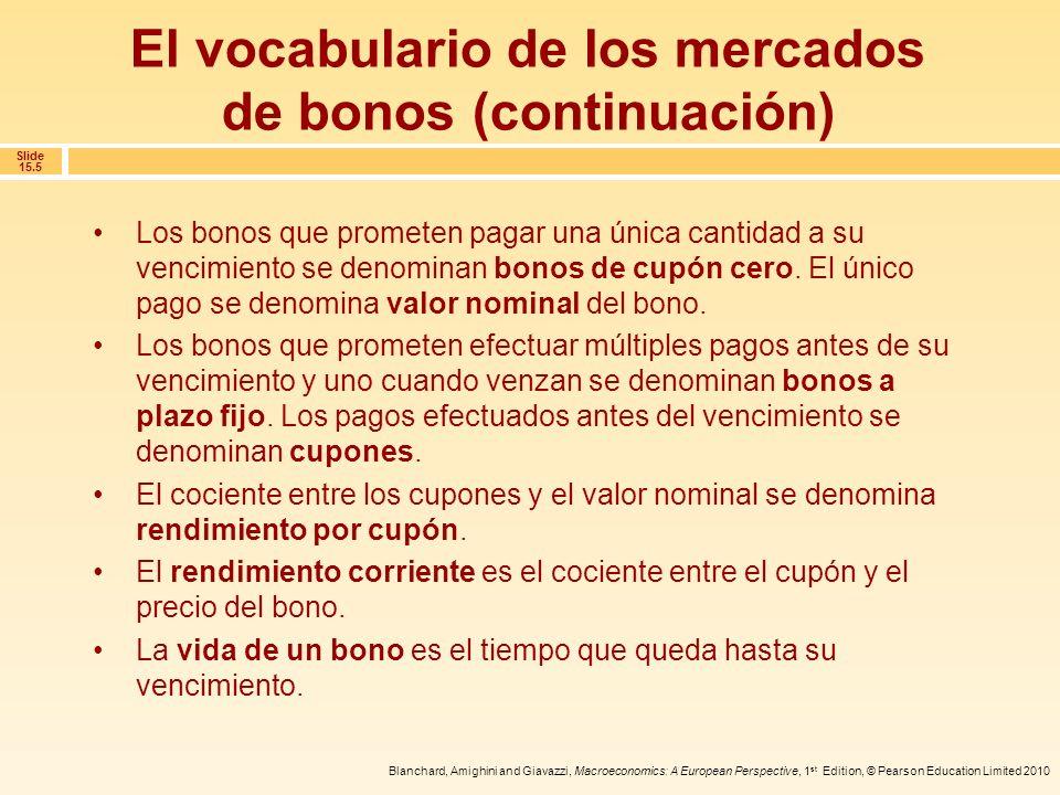 El vocabulario de los mercados de bonos (continuación)