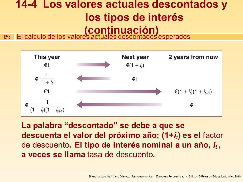 14-4 Los valores actuales descontados y los tipos de interés