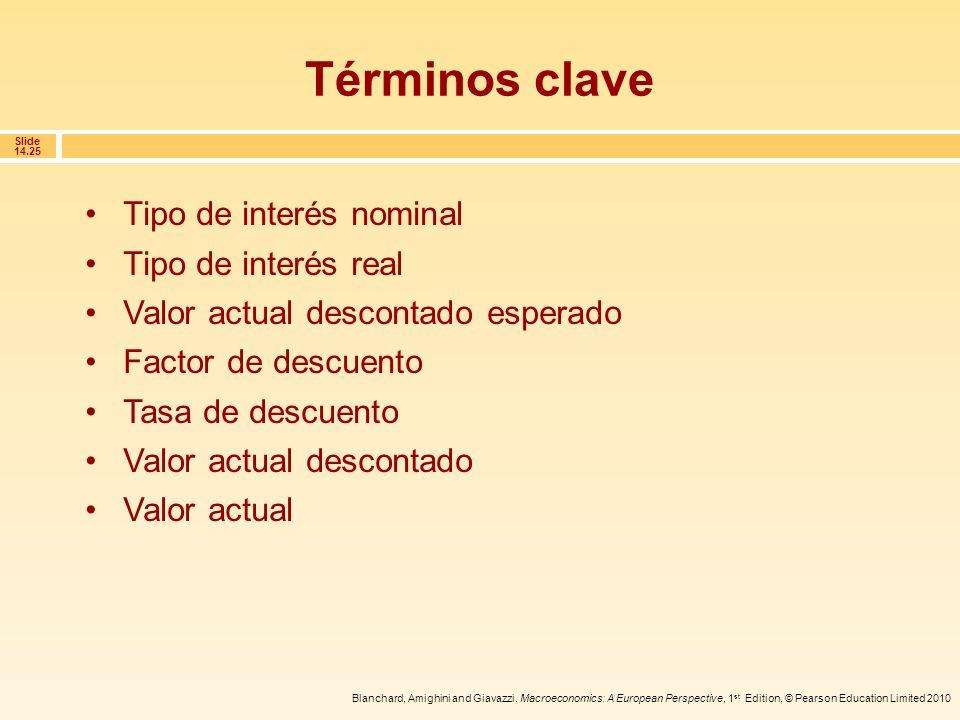 Términos clave Tipo de interés nominal Tipo de interés real