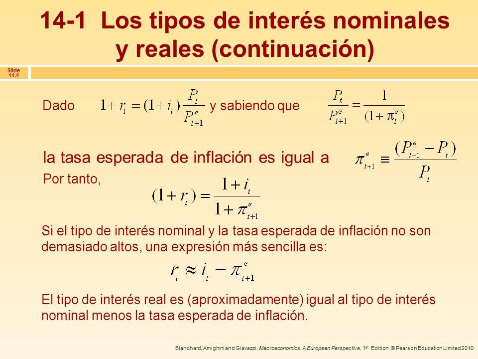 14-1 Los tipos de interés nominales y reales (continuación)
