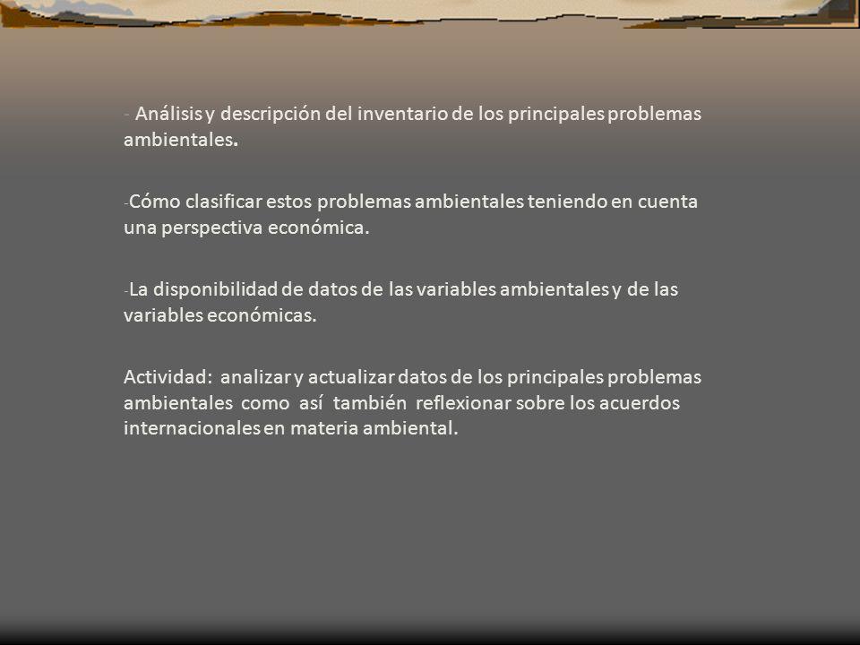 - Análisis y descripción del inventario de los principales problemas ambientales.