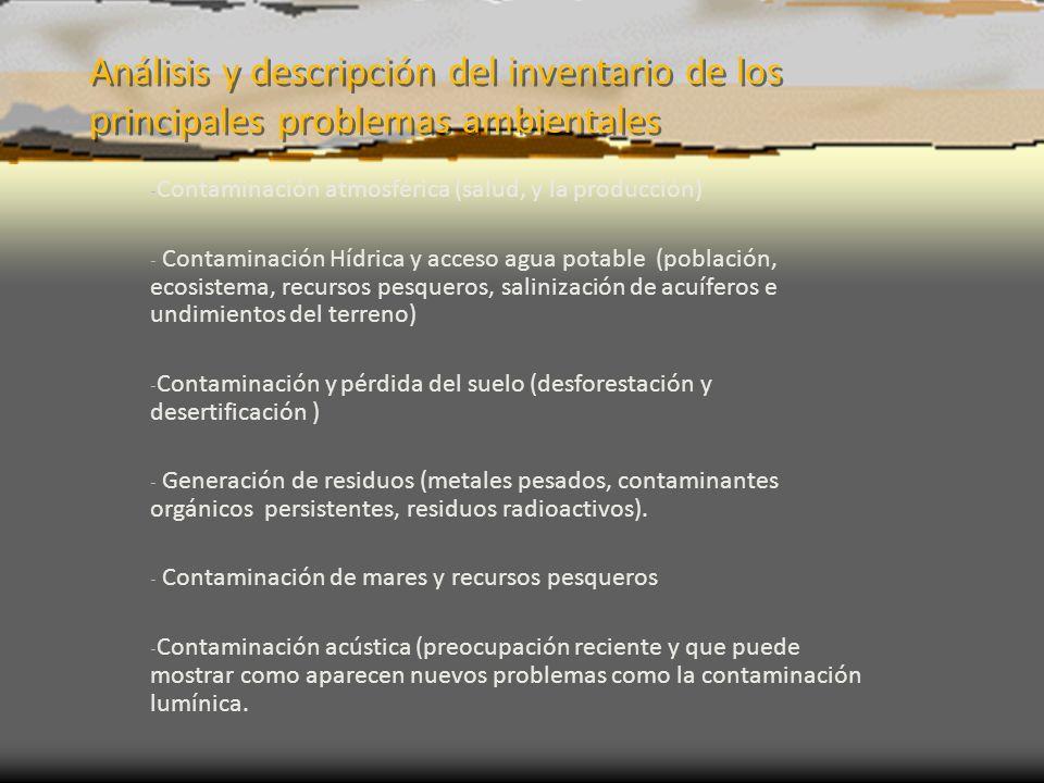 Análisis y descripción del inventario de los principales problemas ambientales