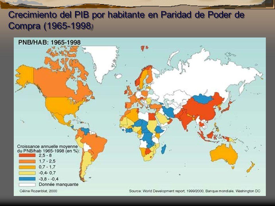 Crecimiento del PIB por habitante en Paridad de Poder de Compra (1965-1998)