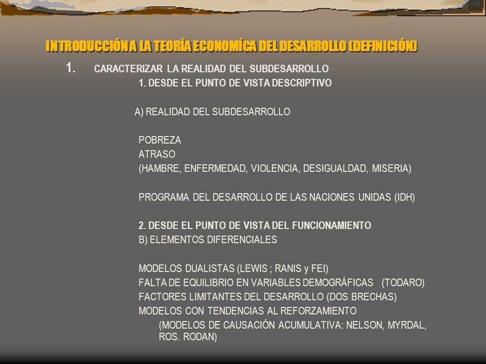 INTRODUCCIÓN A LA TEORÍA ECONOMÍCA DEL DESARROLLO (DEFINICIÓN)