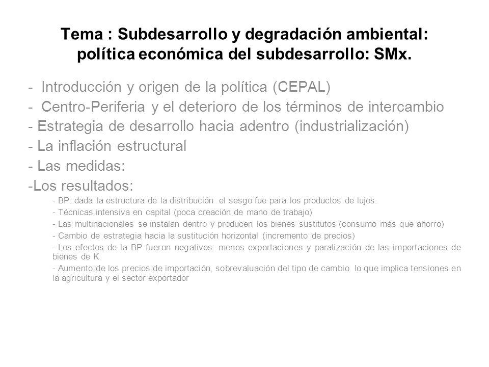 Tema : Subdesarrollo y degradación ambiental: política económica del subdesarrollo: SMx.