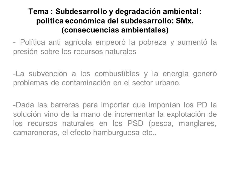 Tema : Subdesarrollo y degradación ambiental: política económica del subdesarrollo: SMx. (consecuencias ambientales)