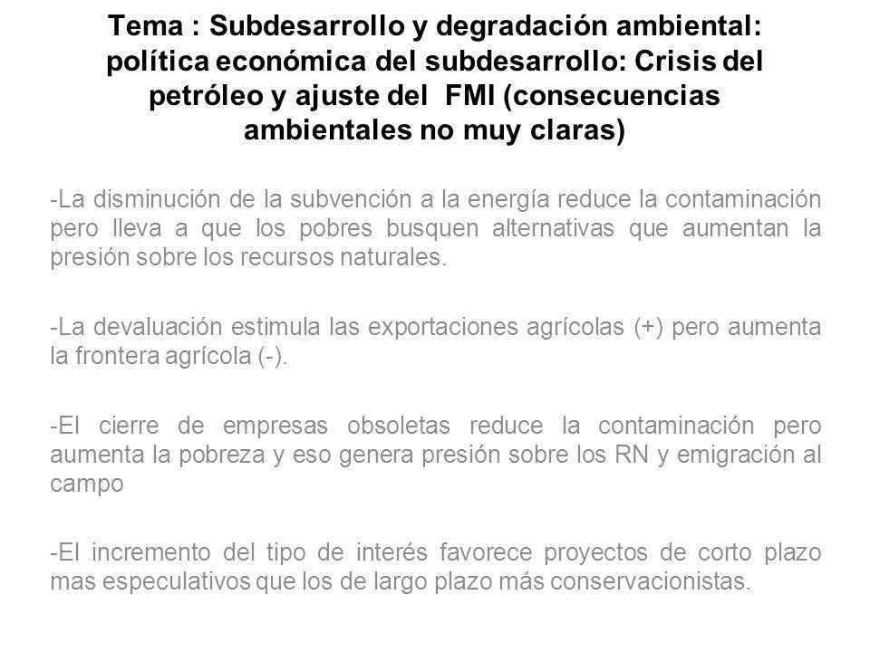 Tema : Subdesarrollo y degradación ambiental: política económica del subdesarrollo: Crisis del petróleo y ajuste del FMI (consecuencias ambientales no muy claras)