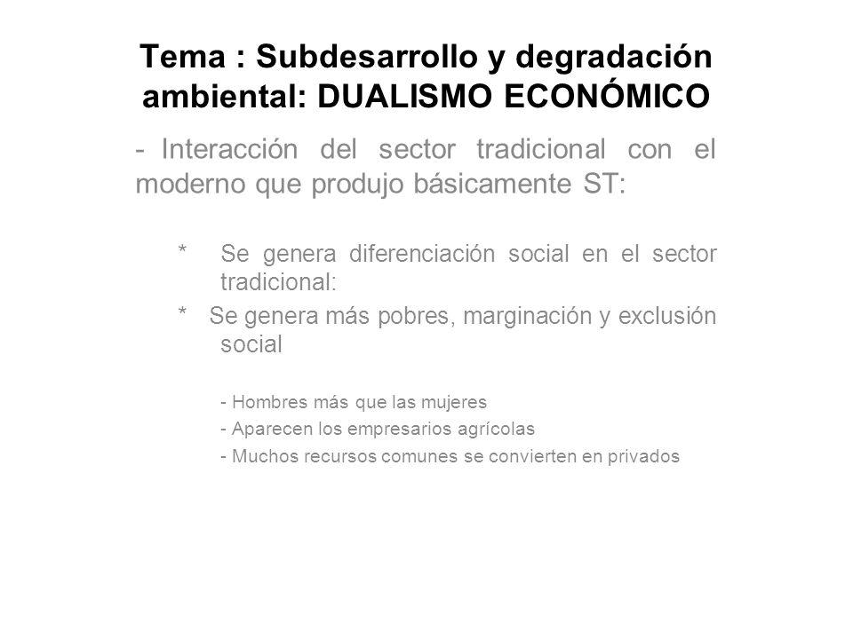 Tema : Subdesarrollo y degradación ambiental: DUALISMO ECONÓMICO