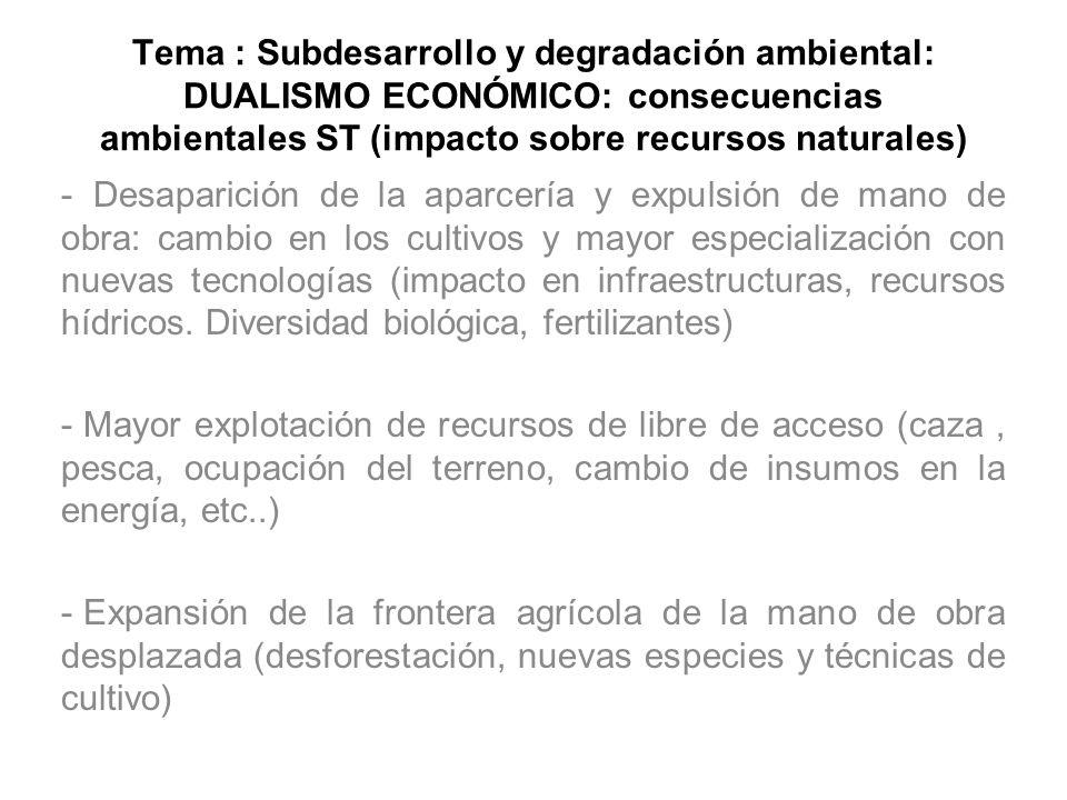 Tema : Subdesarrollo y degradación ambiental: DUALISMO ECONÓMICO: consecuencias ambientales ST (impacto sobre recursos naturales)