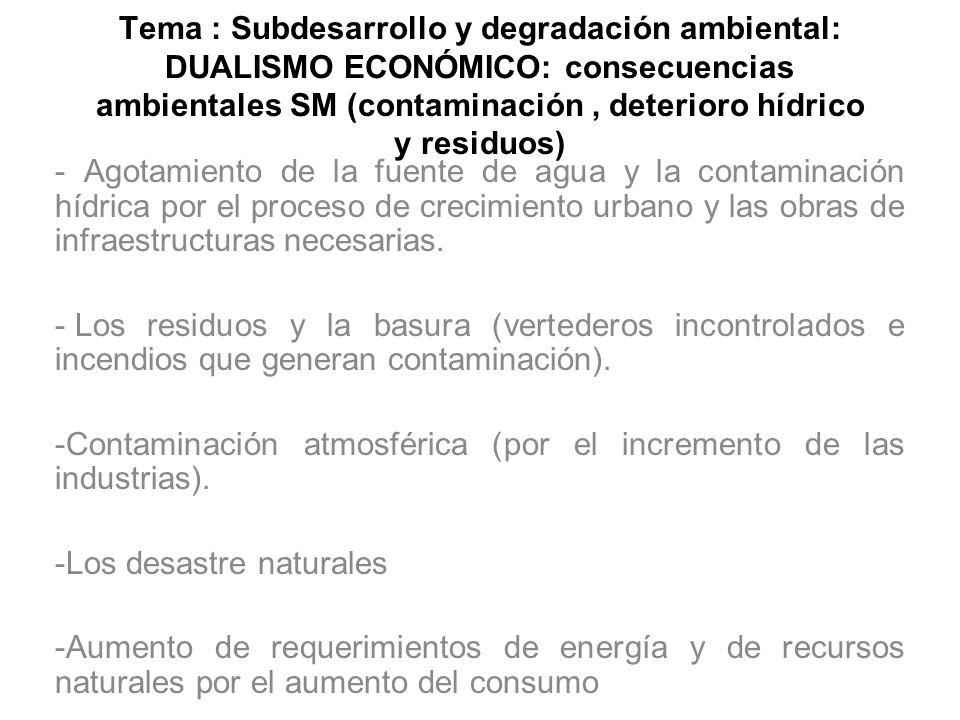 Tema : Subdesarrollo y degradación ambiental: DUALISMO ECONÓMICO: consecuencias ambientales SM (contaminación , deterioro hídrico y residuos)