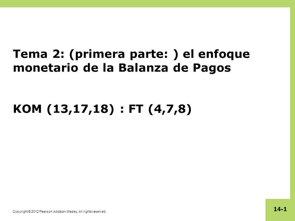 Tema 2: (primera parte: ) el enfoque monetario de la Balanza de Pagos KOM (13,17,18) : FT (4,7,8)
