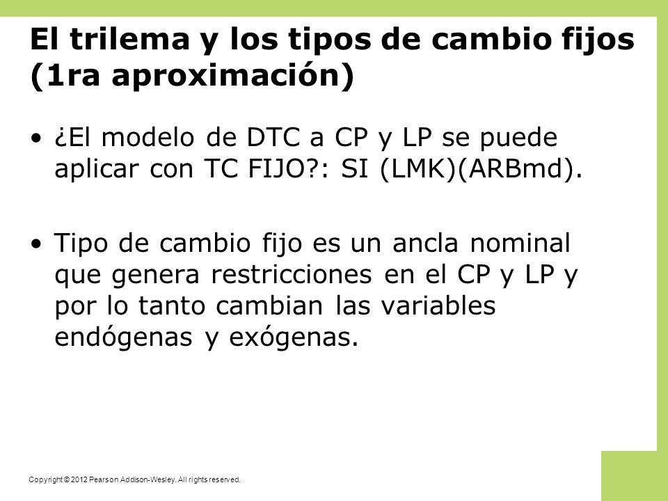El trilema y los tipos de cambio fijos (1ra aproximación)