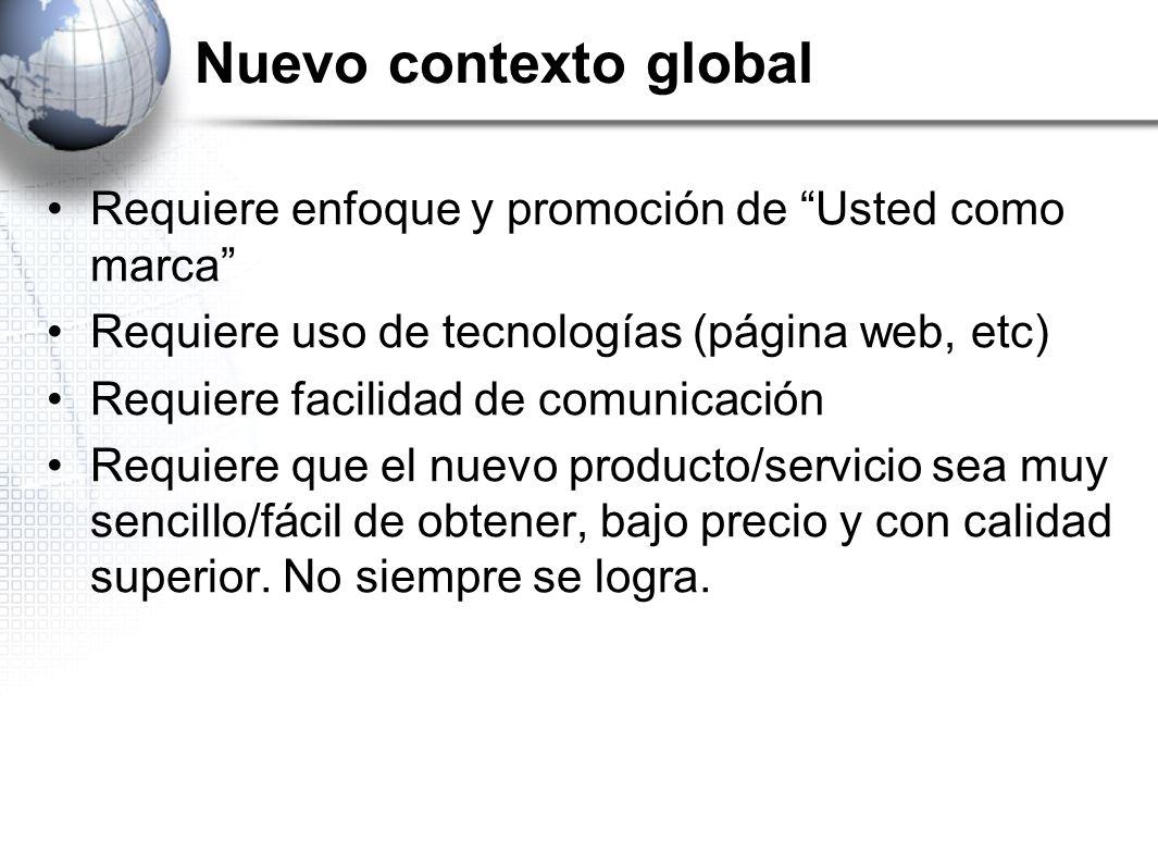 Nuevo contexto global Requiere enfoque y promoción de Usted como marca Requiere uso de tecnologías (página web, etc)