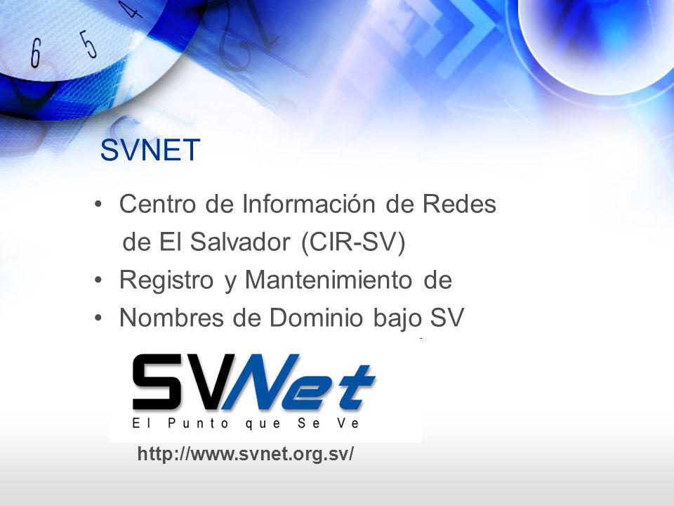 SVNET Centro de Información de Redes de El Salvador (CIR-SV)