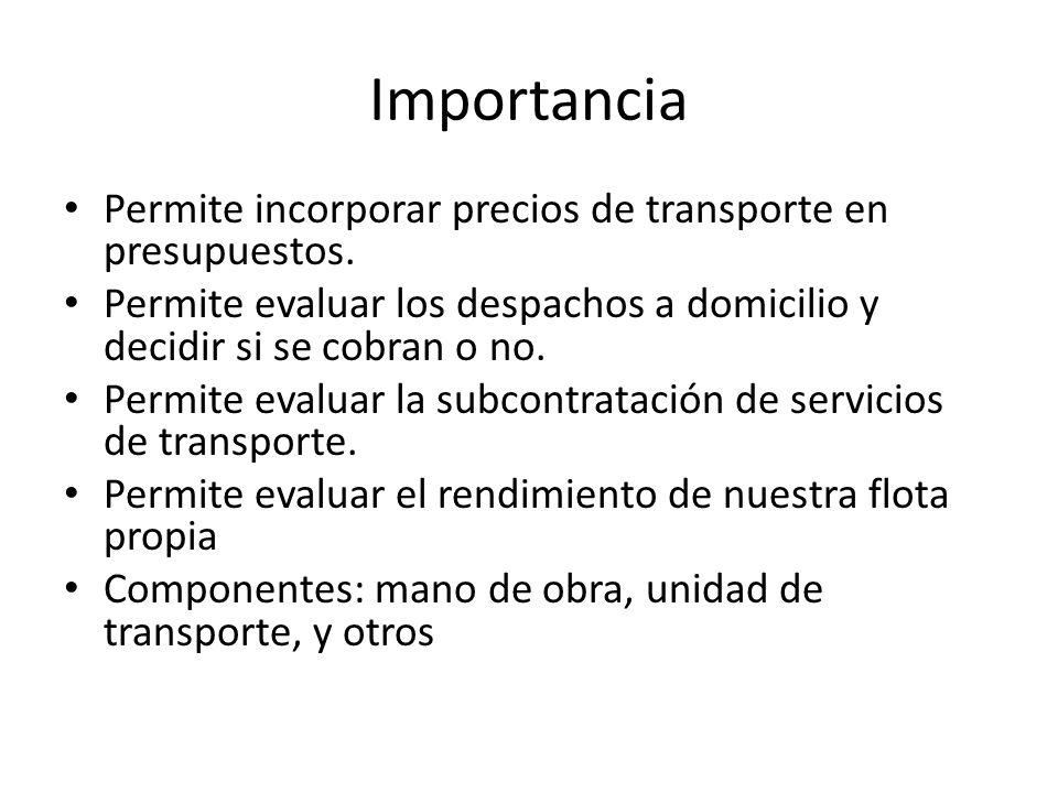 Importancia Permite incorporar precios de transporte en presupuestos.