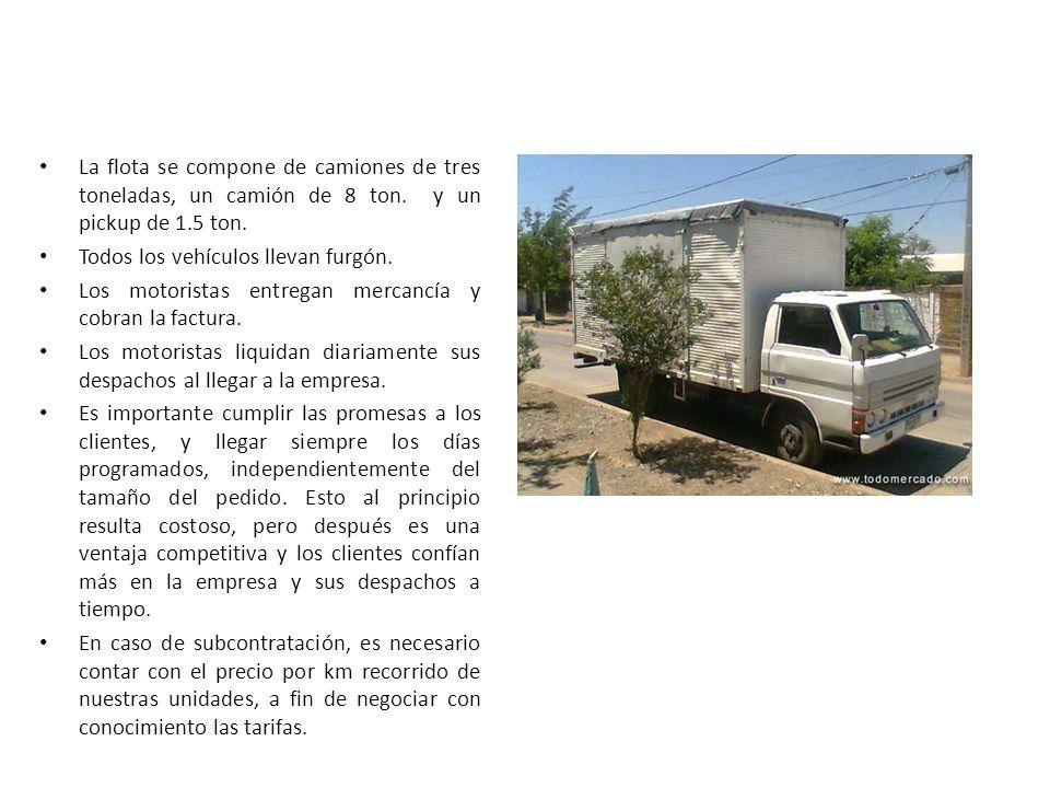 La flota se compone de camiones de tres toneladas, un camión de 8 ton