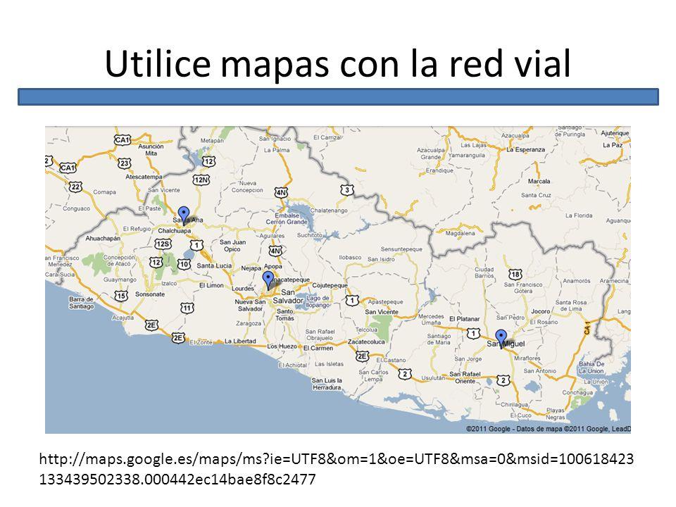 Utilice mapas con la red vial