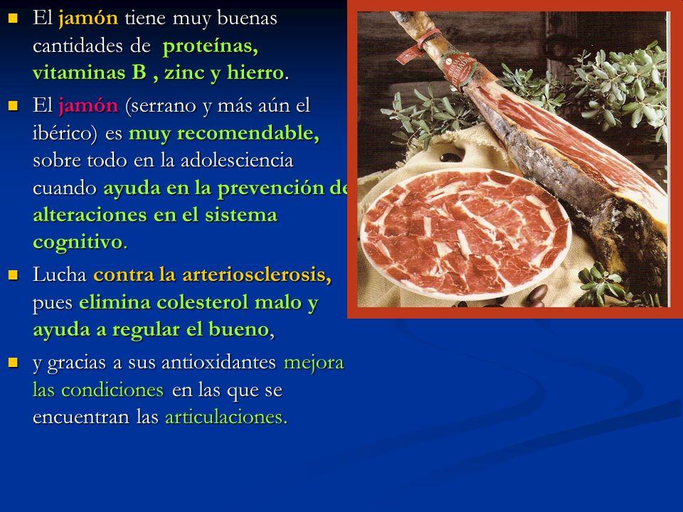 El jamón tiene muy buenas cantidades de proteínas, vitaminas B , zinc y hierro.
