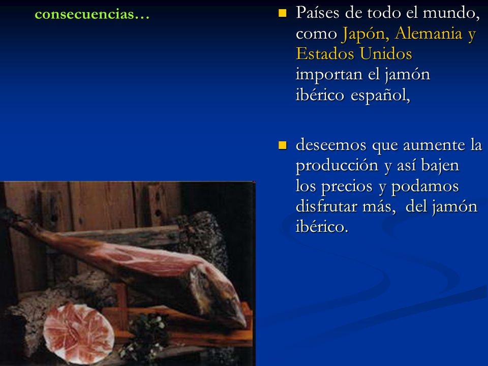 consecuencias… Países de todo el mundo, como Japón, Alemania y Estados Unidos importan el jamón ibérico español,
