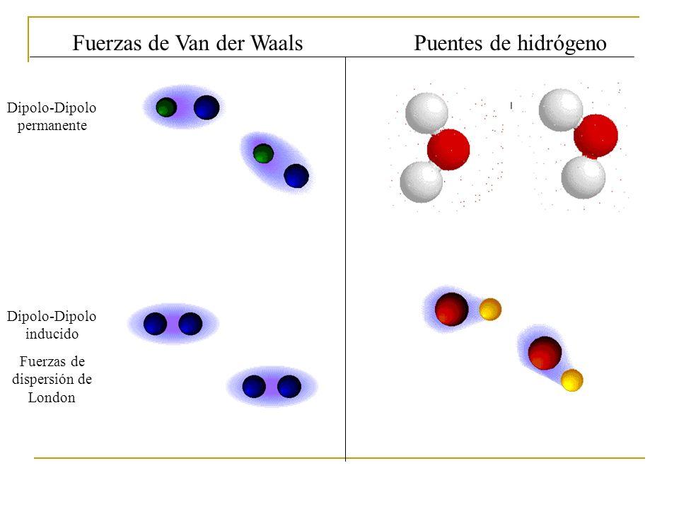 Fuerzas de Van der Waals Puentes de hidrógeno