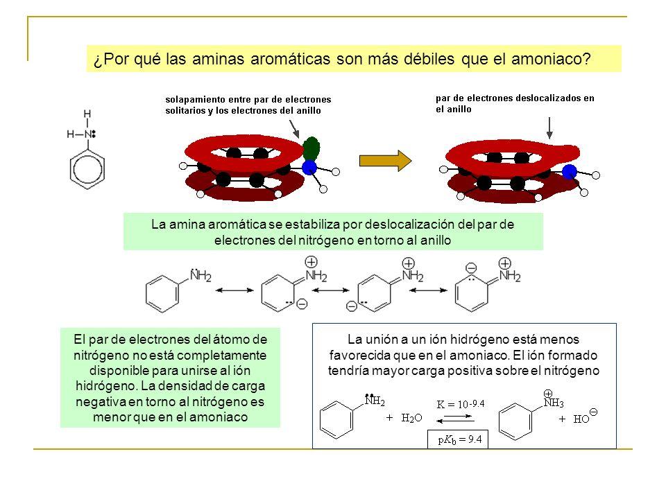 ¿Por qué las aminas aromáticas son más débiles que el amoniaco