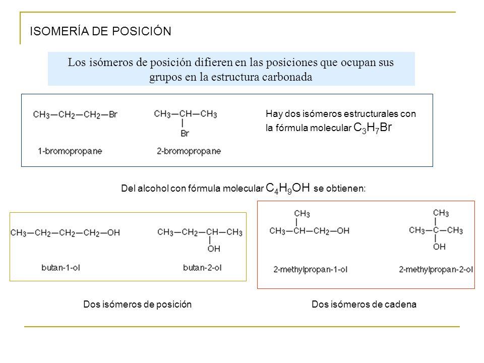 ISOMERÍA DE POSICIÓN Los isómeros de posición difieren en las posiciones que ocupan sus grupos en la estructura carbonada.