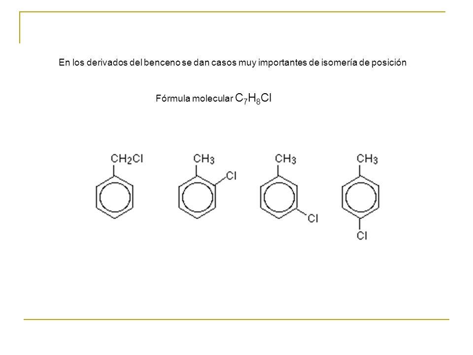 En los derivados del benceno se dan casos muy importantes de isomería de posición