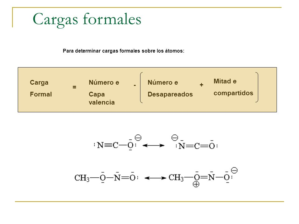 Cargas formales Carga Formal Número e Capa valencia Número e
