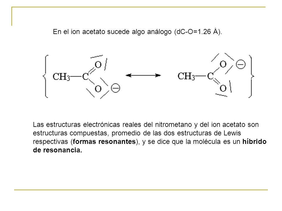 En el ion acetato sucede algo análogo (dC-O=1.26 Å).