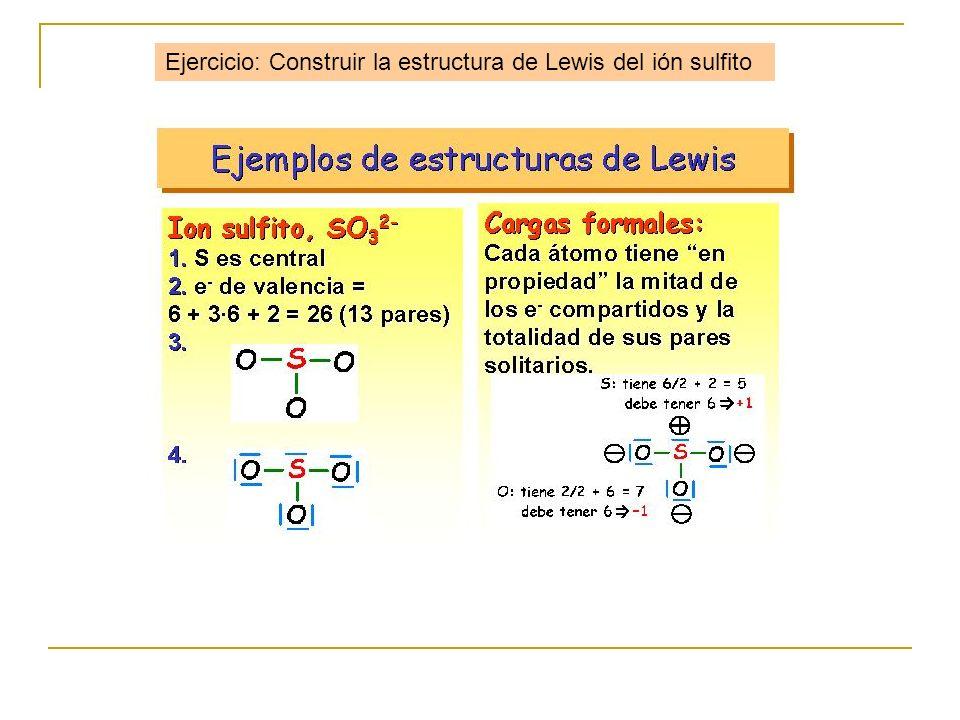 Ejercicio: Construir la estructura de Lewis del ión sulfito
