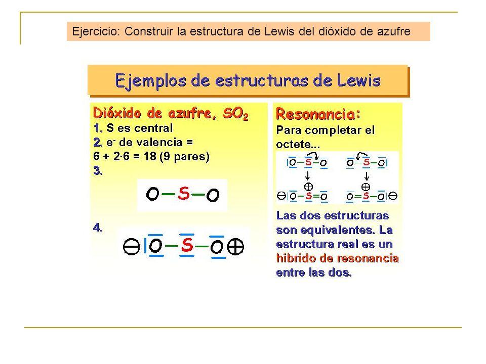 Ejercicio: Construir la estructura de Lewis del dióxido de azufre