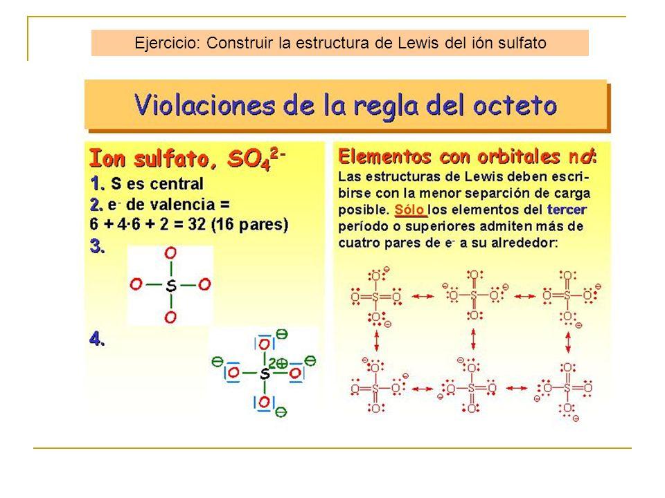 Ejercicio: Construir la estructura de Lewis del ión sulfato