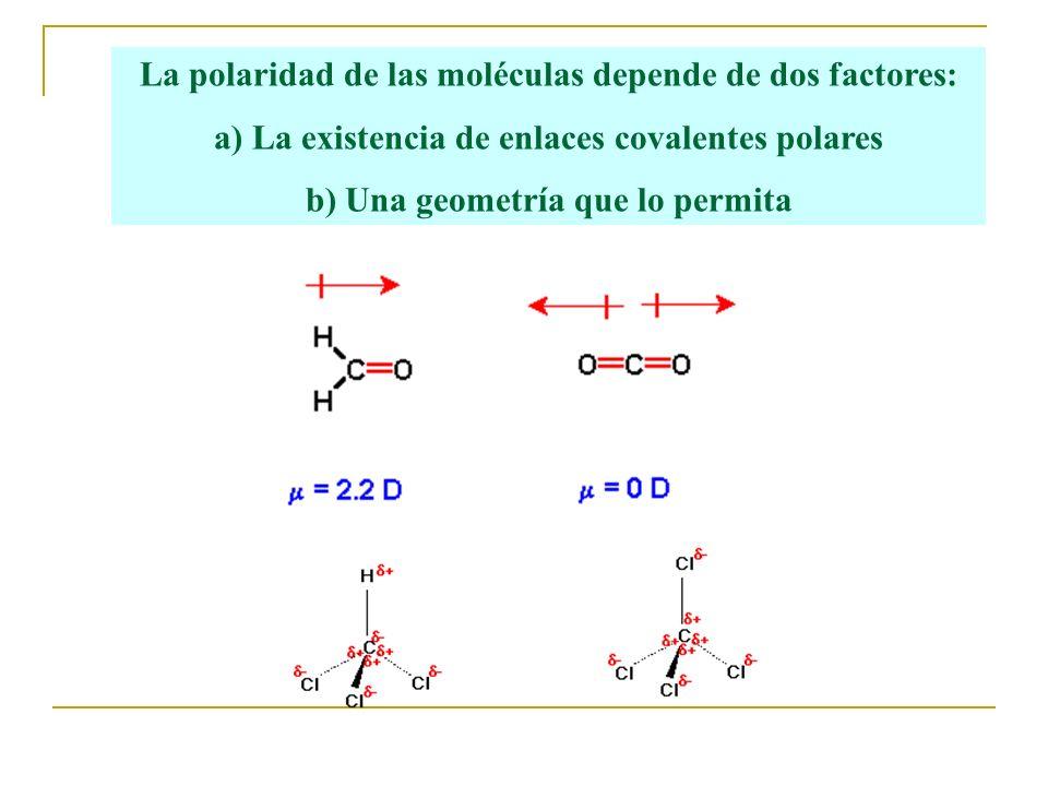 La polaridad de las moléculas depende de dos factores: