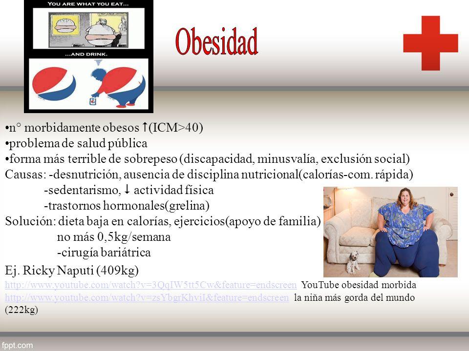 Obesidad n° morbidamente obesos (ICM>40) problema de salud pública