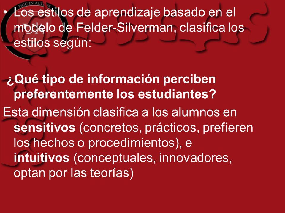Los estilos de aprendizaje basado en el modelo de Felder-Silverman, clasifica los estilos según: