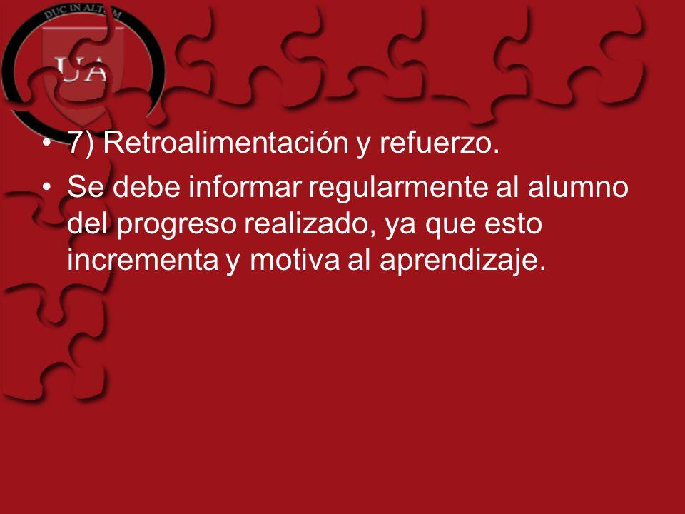 7) Retroalimentación y refuerzo.