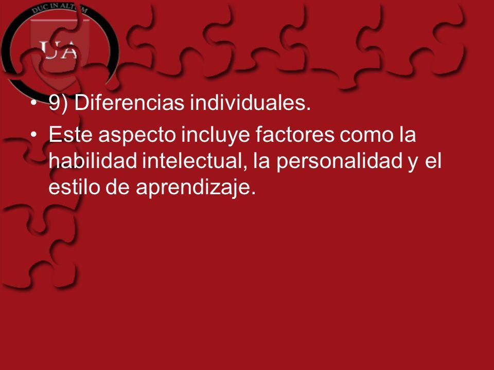 9) Diferencias individuales.