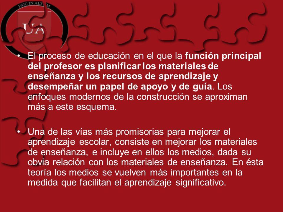 El proceso de educación en el que la función principal del profesor es planificar los materiales de enseñanza y los recursos de aprendizaje y desempeñar un papel de apoyo y de guía. Los enfoques modernos de la construcción se aproximan más a este esquema.